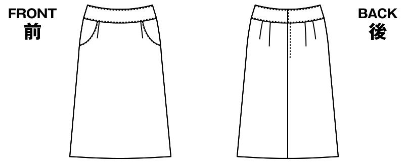 AR3833 アルファピア [秋冬用]Aラインスカート 無地[防シワ加工] ハンガーイラスト・線画