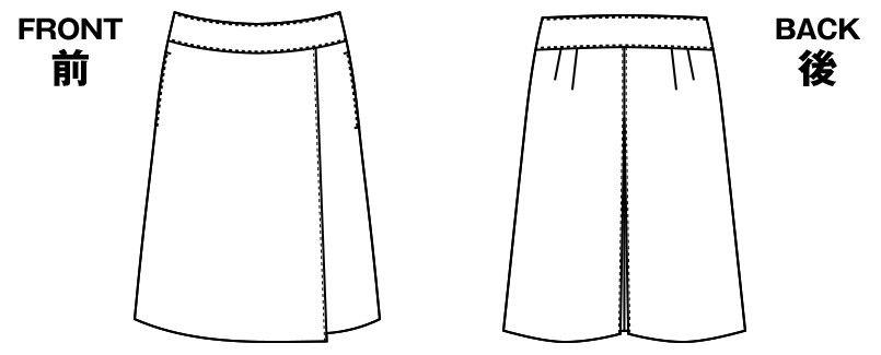 アルファピア AR3834 [秋冬用]ラップキュロット [無地/防シワ加工] ハンガーイラスト・線画
