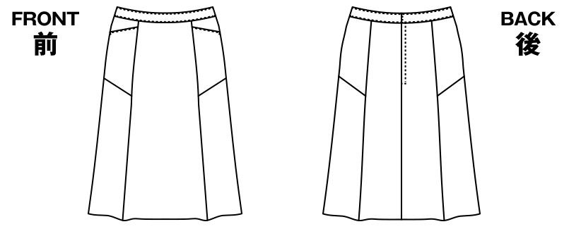 AR3848 アルファピア [通年]セミフレアースカート ストライプ[防シワ商品] ハンガーイラスト・線画