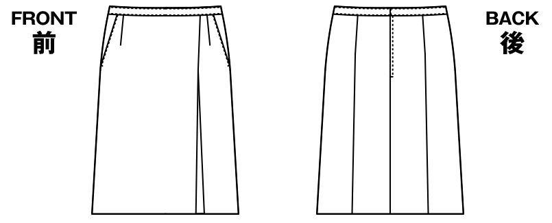 AR3852 アルファピア [通年]Aラインスカート ストライプ[防シワ商品] ハンガーイラスト・線画