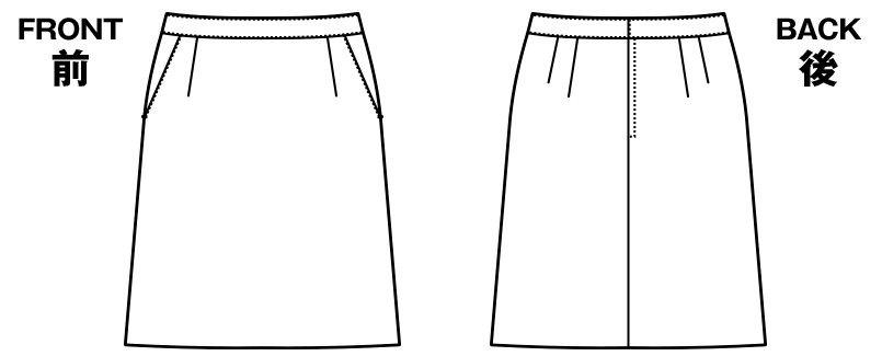 [在庫限り/返品交換不可]AR3860 アルファピア [通年]Aラインスカート スパイラルカルゼ 無地 ハンガーイラスト・線画