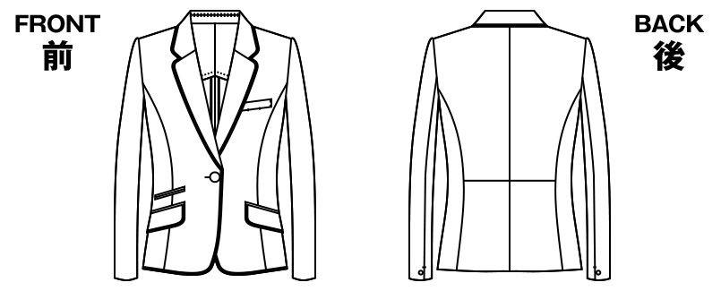 AR4840 アルファピア [秋冬用]ジャケット カラーパイピング ミニヘリンボーン ハンガーイラスト・線画
