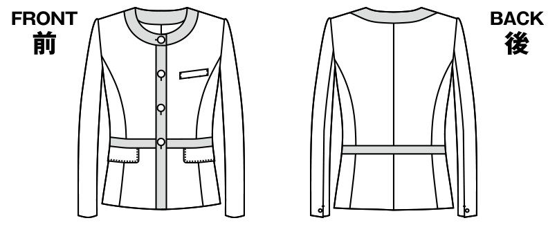 AR4844 アルファピア [通年]ノーカラージャケット グラデーションチェック ハンガーイラスト・線画