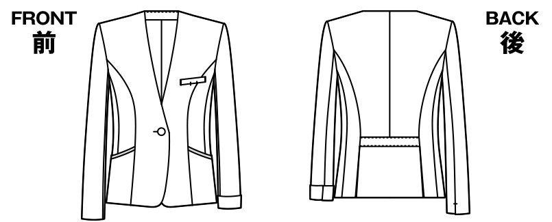 アルファピア AR4852 [通年]ノーカラーのストライプ・ジャケット [防シワ加工] ハンガーイラスト・線画