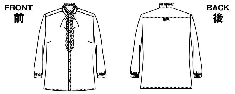 アルファピア NF1532 [通年]ボウタイ付き・八分袖ブラウス<サテン生地> ハンガーイラスト・線画
