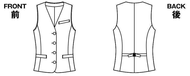 アルファピア UF2508 [通年]ベスト フレスコチェック ハンガーイラスト・線画