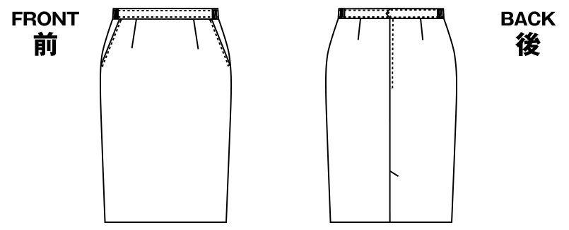 アルファピア UF3501R [通年]タイトスカート(脇ゴムウエスト) [無地] ハンガーイラスト・線画