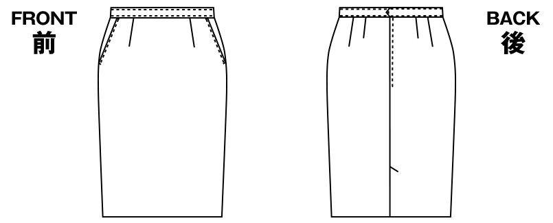 アルファピア UF3507 [秋冬用]ベーシックなセミタイトスカート(レギュラー丈) [無地] ハンガーイラスト・線画
