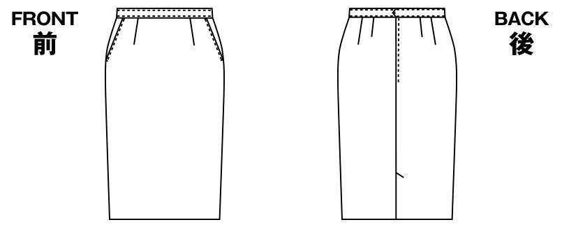 アルファピア UF3508 [秋冬用]タイトスカート(セミロング丈) [無地] ハンガーイラスト・線画