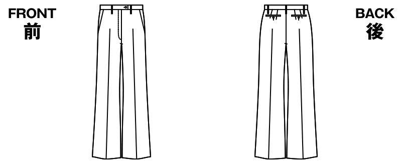 UF5507 アルファピア [通年]パンツ(ジャストウエスト) 無地 ハンガーイラスト・線画