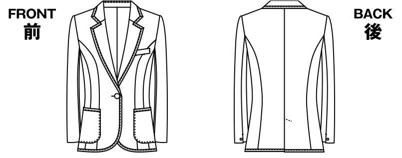 ユキトリイ YT4910 [通年]リッチなツイード素材のエレガンス・ジャケット ハンガーイラスト・線画