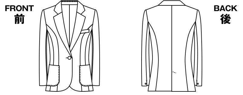 ユキトリイ YT4911 [通年]漆黒のツイード素材がクールな印象のジャケット ハンガーイラスト・線画