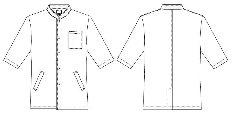 7749 チトセ(アルベ) コックシャツ/五分袖(男女兼用) ハンガーイラスト・線画