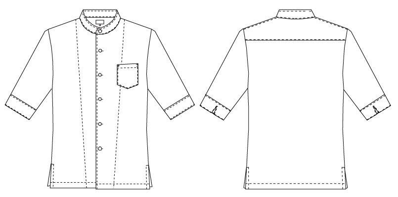 7751 チトセ(アルベ) コックシャツ/五分袖(男女兼用) ハンガーイラスト・線画