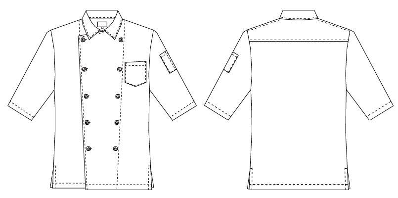 7753 チトセ(アルベ) ダブルコックシャツ/五分袖(男女兼用) ハンガーイラスト・線画