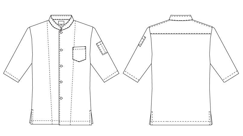 7756 チトセ(アルベ) シングルコックシャツ/五分袖(男女兼用) ハンガーイラスト・線画