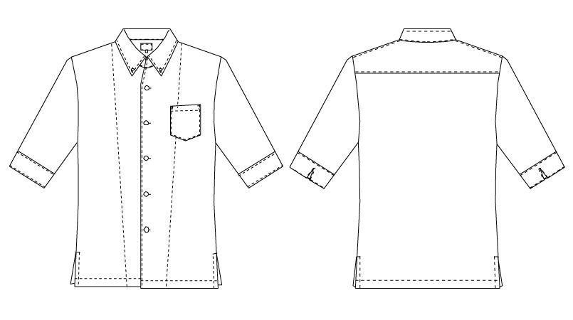 7757 チトセ(アルベ) コックシャツ/五分袖(男女兼用) ハンガーイラスト・線画