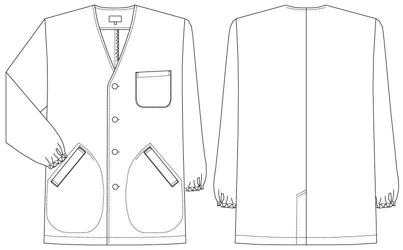 AB-6400 チトセ(アルベ) 白衣/長袖/襟なし(男性用) ハンガーイラスト・線画