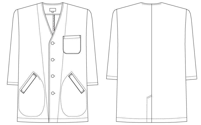 AB-6401 チトセ(アルベ) 白衣/七分袖/襟なし(男性用) ハンガーイラスト・線画