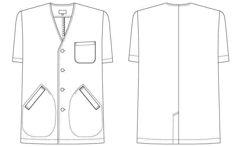 AB-6402 チトセ(アルベ) 白衣/半袖/襟なし(男性用) ハンガーイラスト・線画