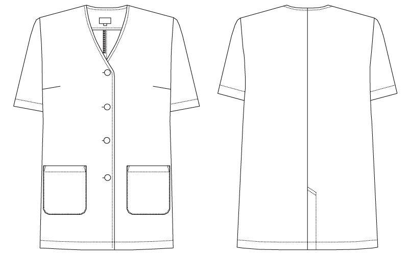 AB-6405 チトセ(アルベ) 白衣/半袖/襟なし(女性用) ハンガーイラスト・線画