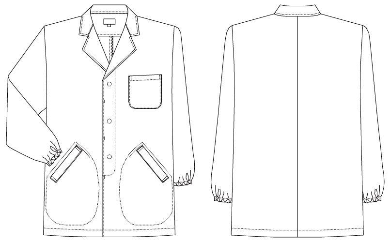 AB-6406 チトセ(アルベ) 白衣/長袖/襟あり(男性用) ハンガーイラスト・線画