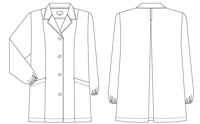 AB-6408 チトセ(アルベ) 白衣/長袖/襟あり(女性用) ハンガーイラスト・線画