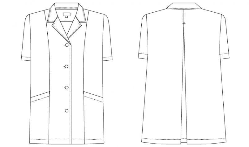 AB-6409 チトセ(アルベ) 白衣/半袖/襟あり(女性用) ハンガーイラスト・線画