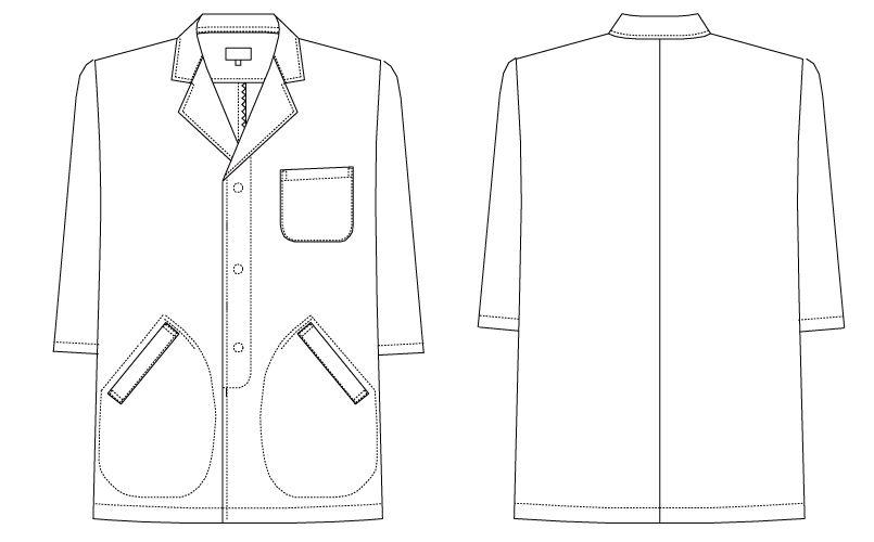 AB-6507 チトセ(アルベ) 白衣/七分袖/襟あり(男性用) ハンガーイラスト・線画
