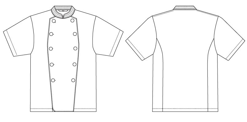 AS-111 チトセ(アルベ) コックコート/半袖(男女兼用) ハンガーイラスト・線画