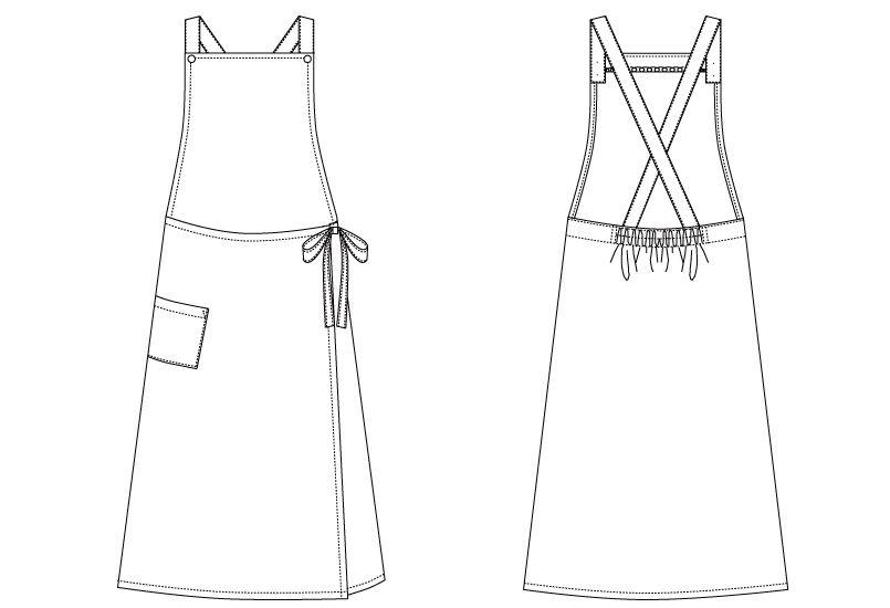 AS-5288 チトセ(アルベ) 胸当てエプロン(女性用) ハンガーイラスト・線画