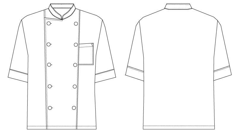AS-6021 チトセ(アルベ) ダブル コックシャツ/七分袖(男女兼用) ハンガーイラスト・線画
