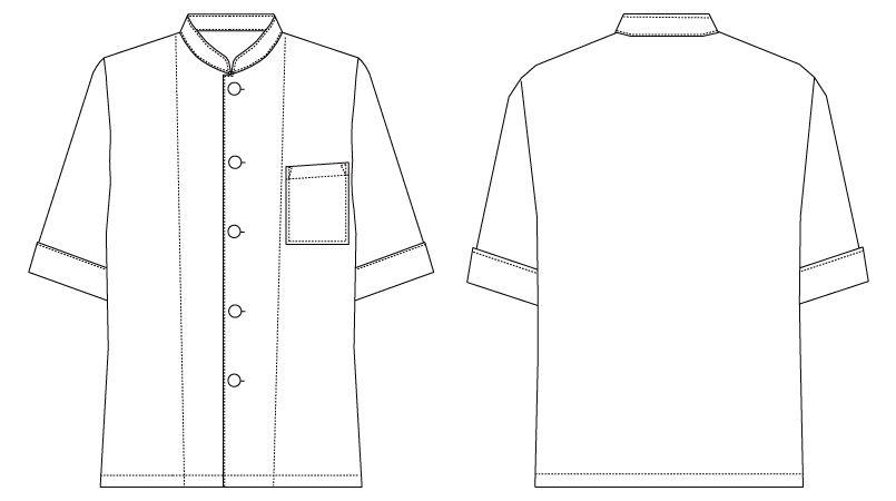 AS-6022 チトセ(アルベ) シングルコックシャツ(男女兼用) ハンガーイラスト・線画