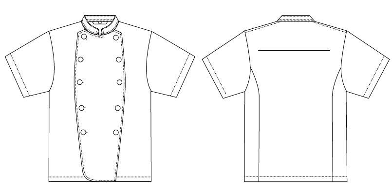 AS-7301 チトセ(アルベ) コックコート/半袖(男女兼用) ハンガーイラスト・線画