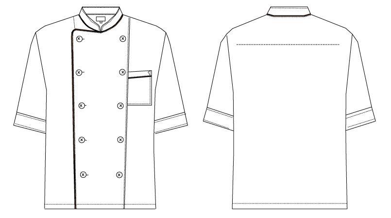 AS-7609 チトセ(アルベ) コックシャツ/七分袖(男女兼用) ハンガーイラスト・線画