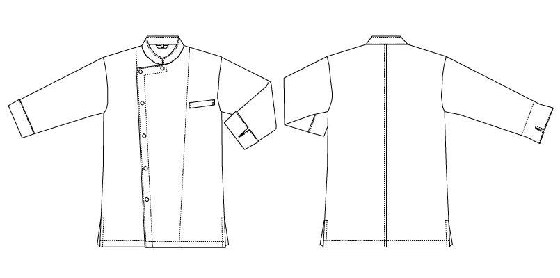 AS-7704 チトセ(アルベ) コックシャツ/七分袖(男女兼用) ハンガーイラスト・線画