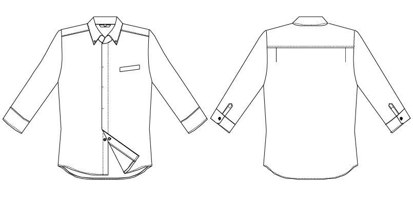 AS-7708 チトセ(アルベ) コックシャツ/七分袖(男女兼用) ハンガーイラスト・線画
