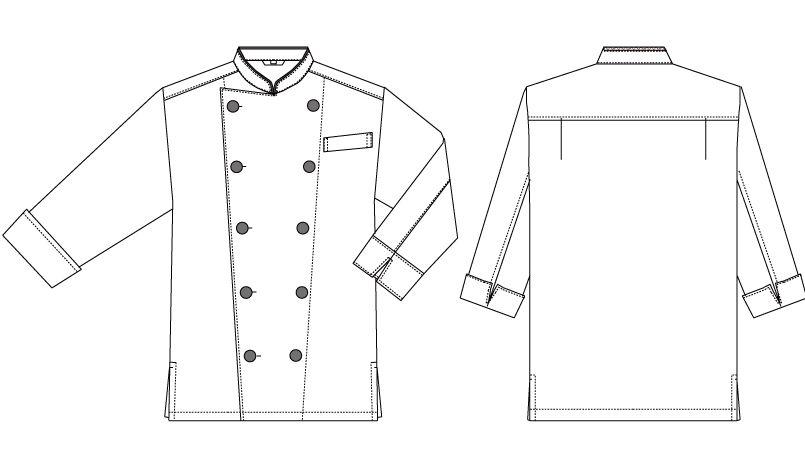 AS-7804 チトセ(アルベ) コックシャツ/七分袖(男女兼用) ハンガーイラスト・線画