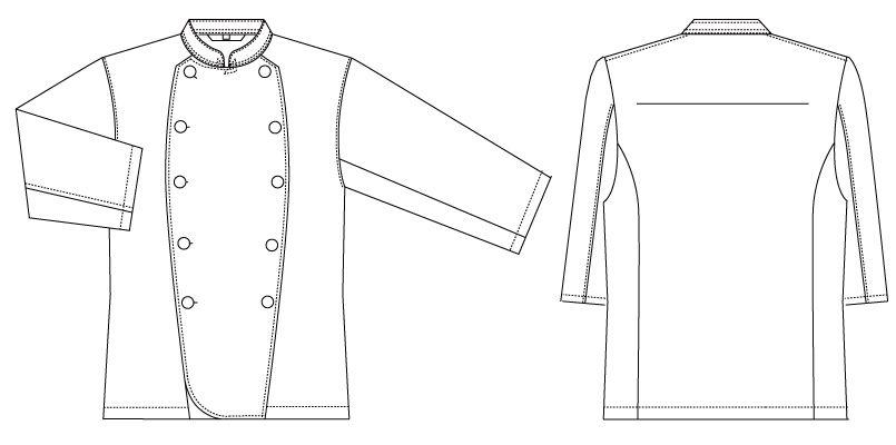 AS-7828 チトセ(アルベ) コックコート/七分袖(男女兼用) ハンガーイラスト・線画