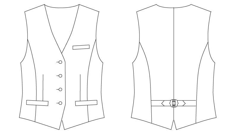 AS-8064 チトセ(アルベ) 襟なしベスト(女性用) ハンガーイラスト・線画
