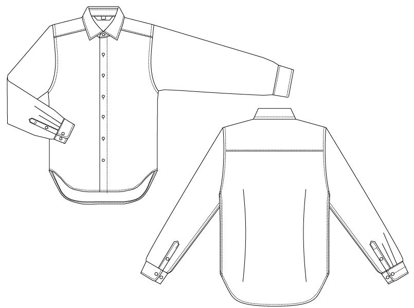 BC-6910 チトセ(アルベ) ワイドカラーのブランチシャツ(男性用) ハンガーイラスト・線画