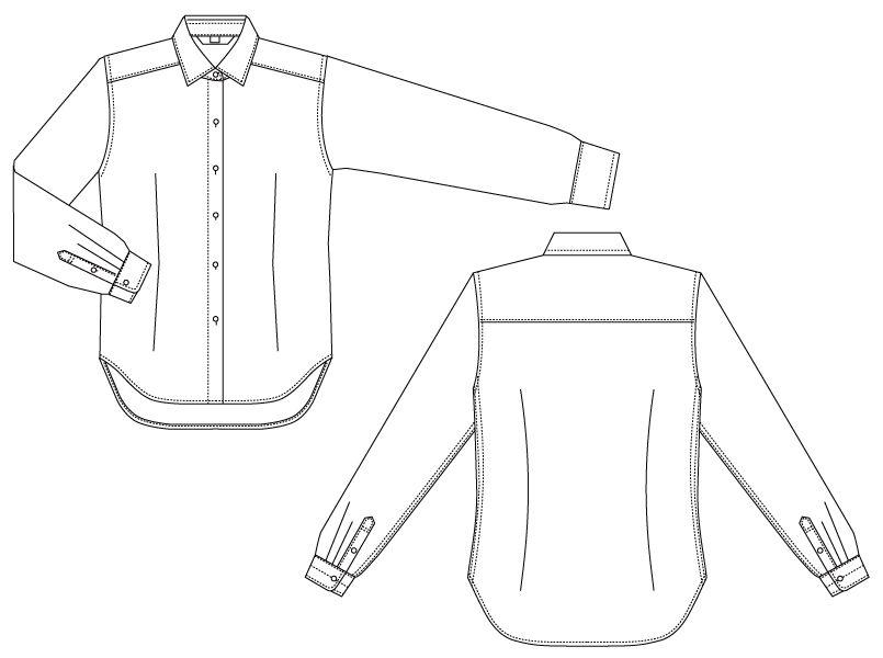 BC-6912 チトセ(アルベ) ワイドカラーのブランチシャツ(女性用) ハンガーイラスト・線画
