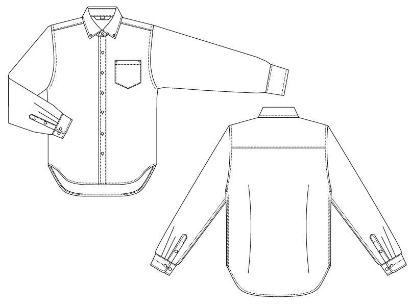 BC-6918 チトセ(アルベ) ブランチ ボタンダウンシャツ/長袖(男性用) ハンガーイラスト・線画