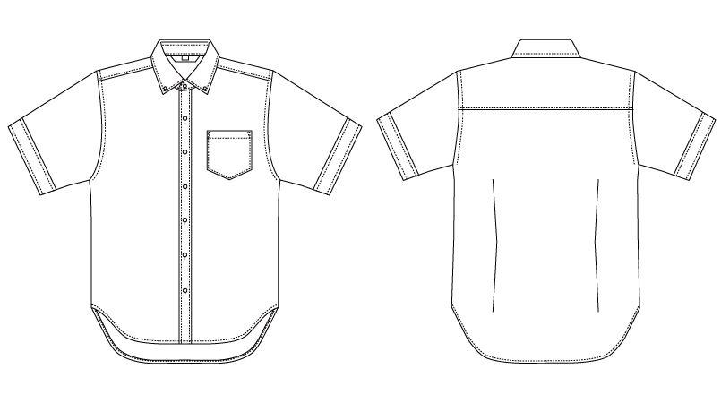 BC-6919 チトセ(アルベ) ブランチ ボタンダウンシャツ/半袖(男性用) ハンガーイラスト・線画