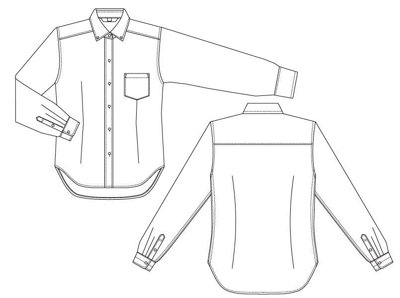 BC-6920 チトセ(アルベ) ブランチ ボタンダウンシャツ/長袖(女性用) ハンガーイラスト・線画