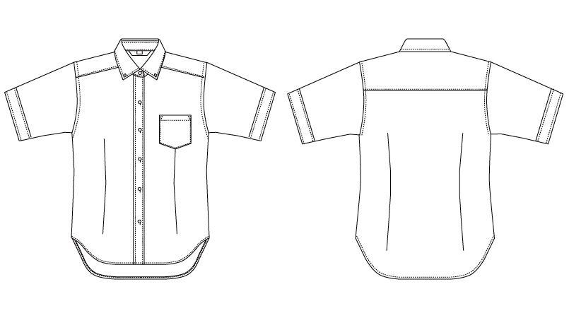 BC-6921 チトセ(アルベ) ブランチ ボタンダウンシャツ/半袖(女性用) ハンガーイラスト・線画