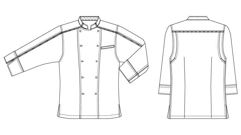 BC-7123 チトセ(アルベ) ブランチ パイピングコックジャケット/七分袖(男女兼用) ハンガーイラスト・線画