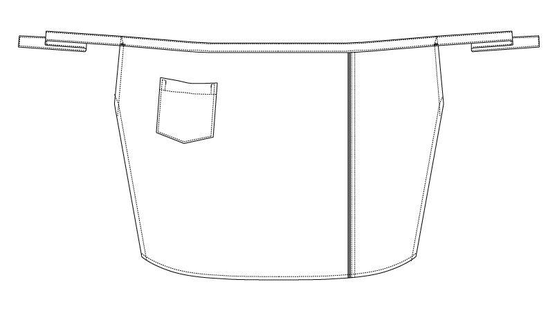 BC-7132 チトセ(アルベ) ブランチ ロングエプロン/パイピングデザイン(男女兼用) ハンガーイラスト・線画