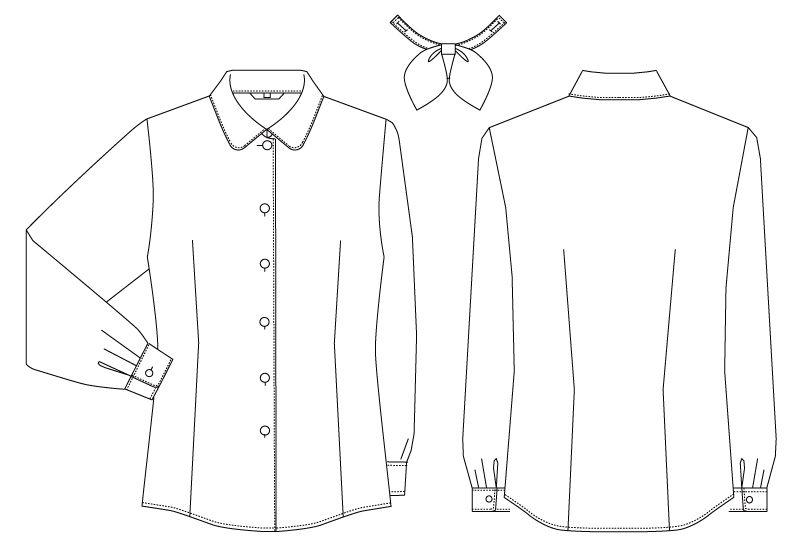 BL-6814 チトセ(アルベ) [通年]プチプライスでお得!リボン付きブラウス/長袖(女性用) ハンガーイラスト・線画