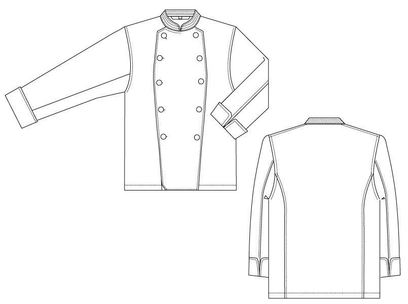 CA-114 チトセ(アルベ) 綿100%コックコート/長袖(男女兼用) ハンガーイラスト・線画